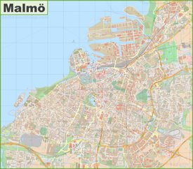 Large detailed map of Malmö