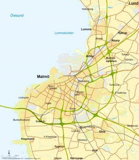 Malmö area road map