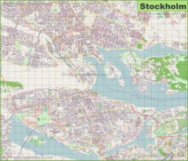 Large detailed map of Stockholm