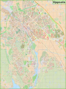 Large detailed map of Uppsala