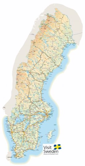 Large detailed map of Sweden with cities and towns