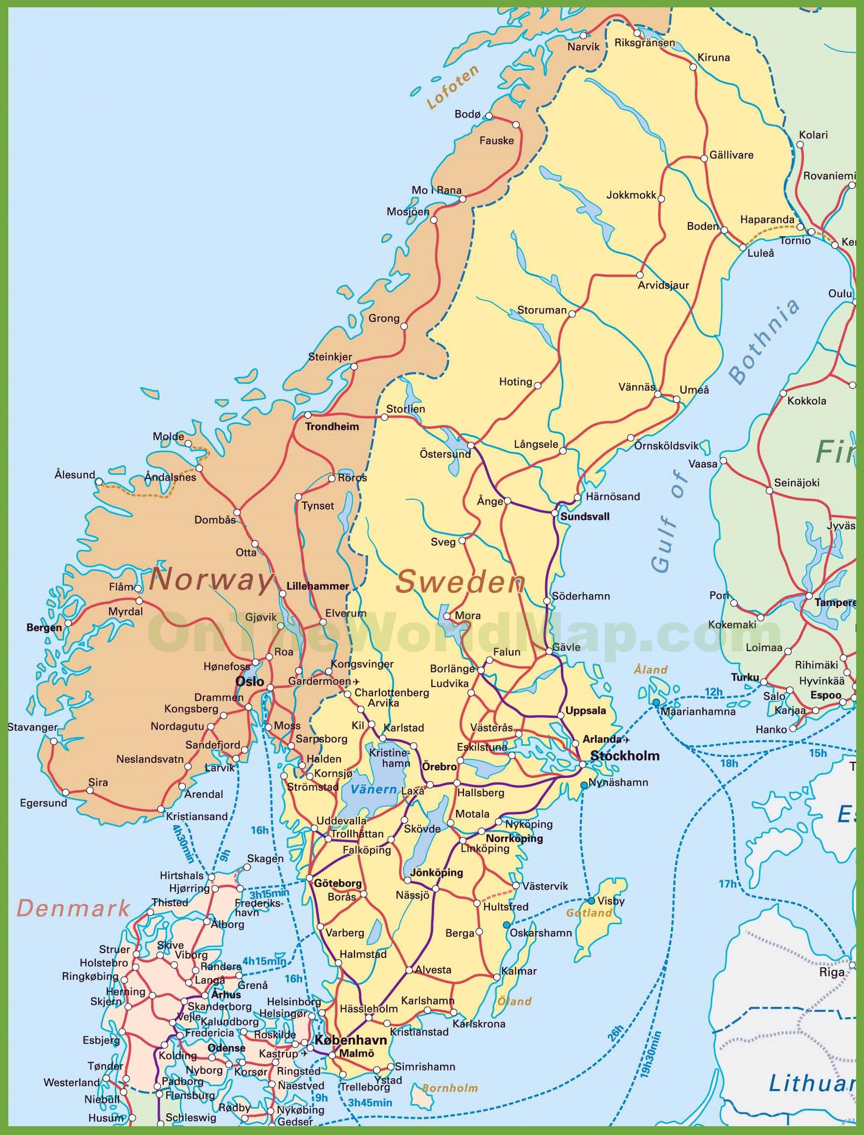 picture relating to Scandinavia Map Printable named Map of Sweden, Norway and Denmark