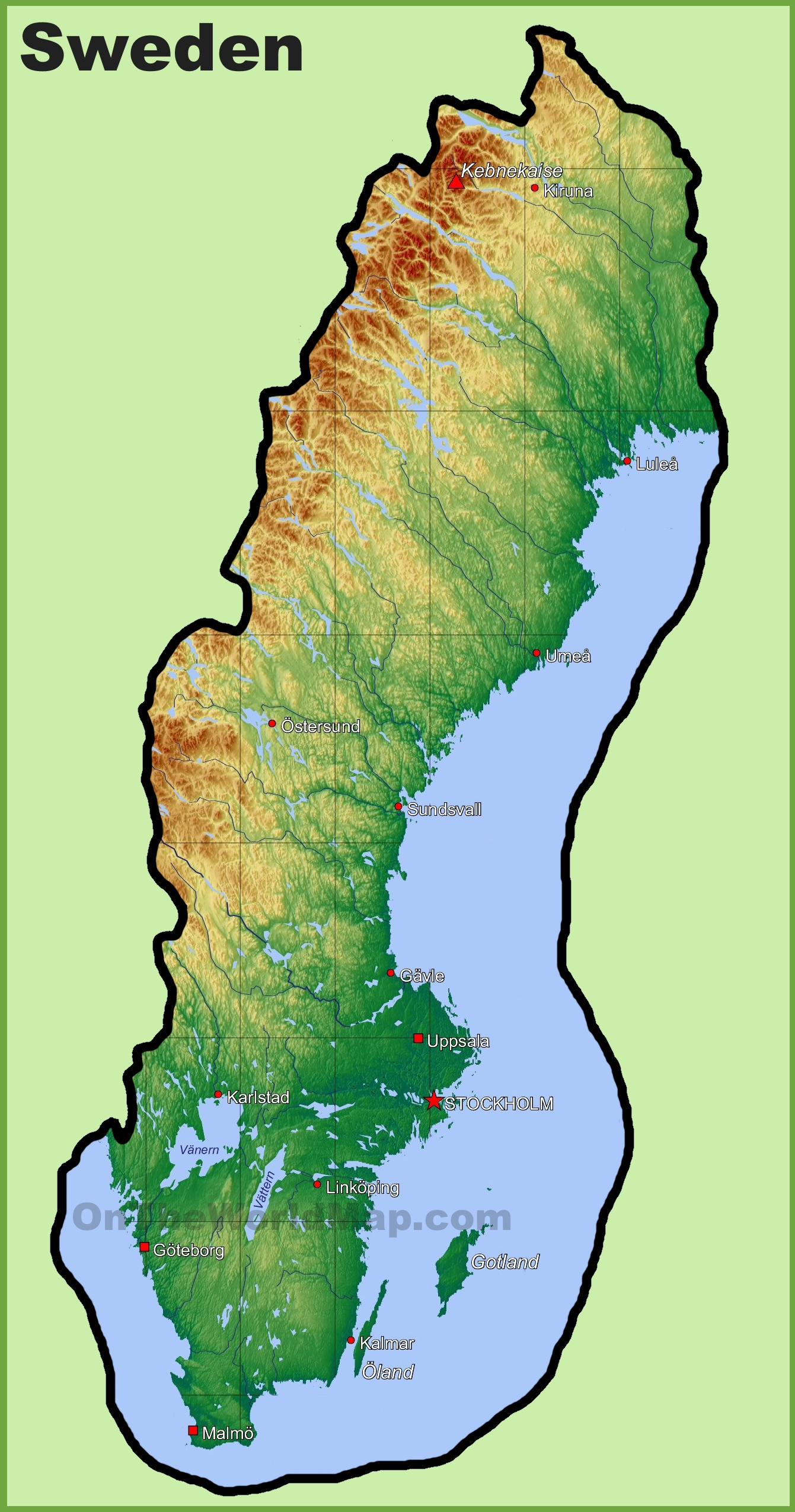 Sweden physical map sciox Images
