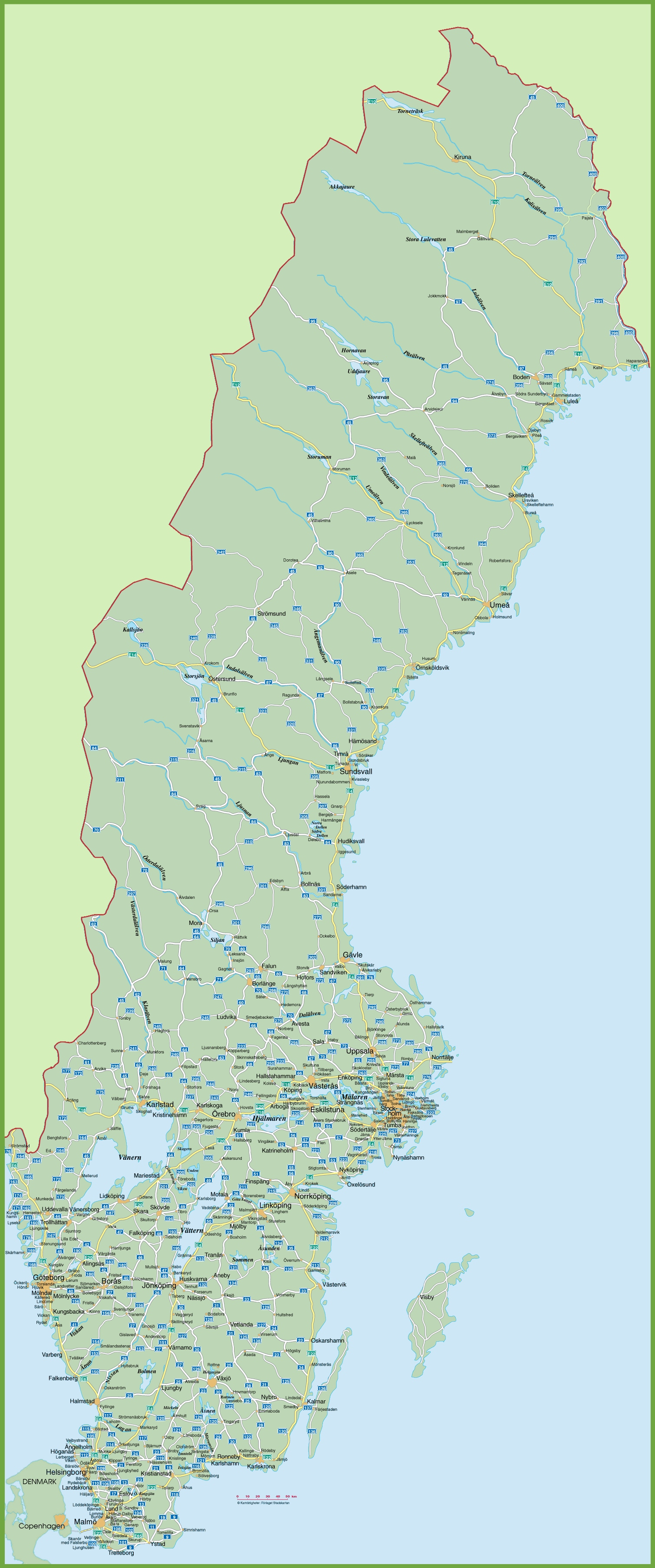 Sweden Road Map - Varberg sweden map