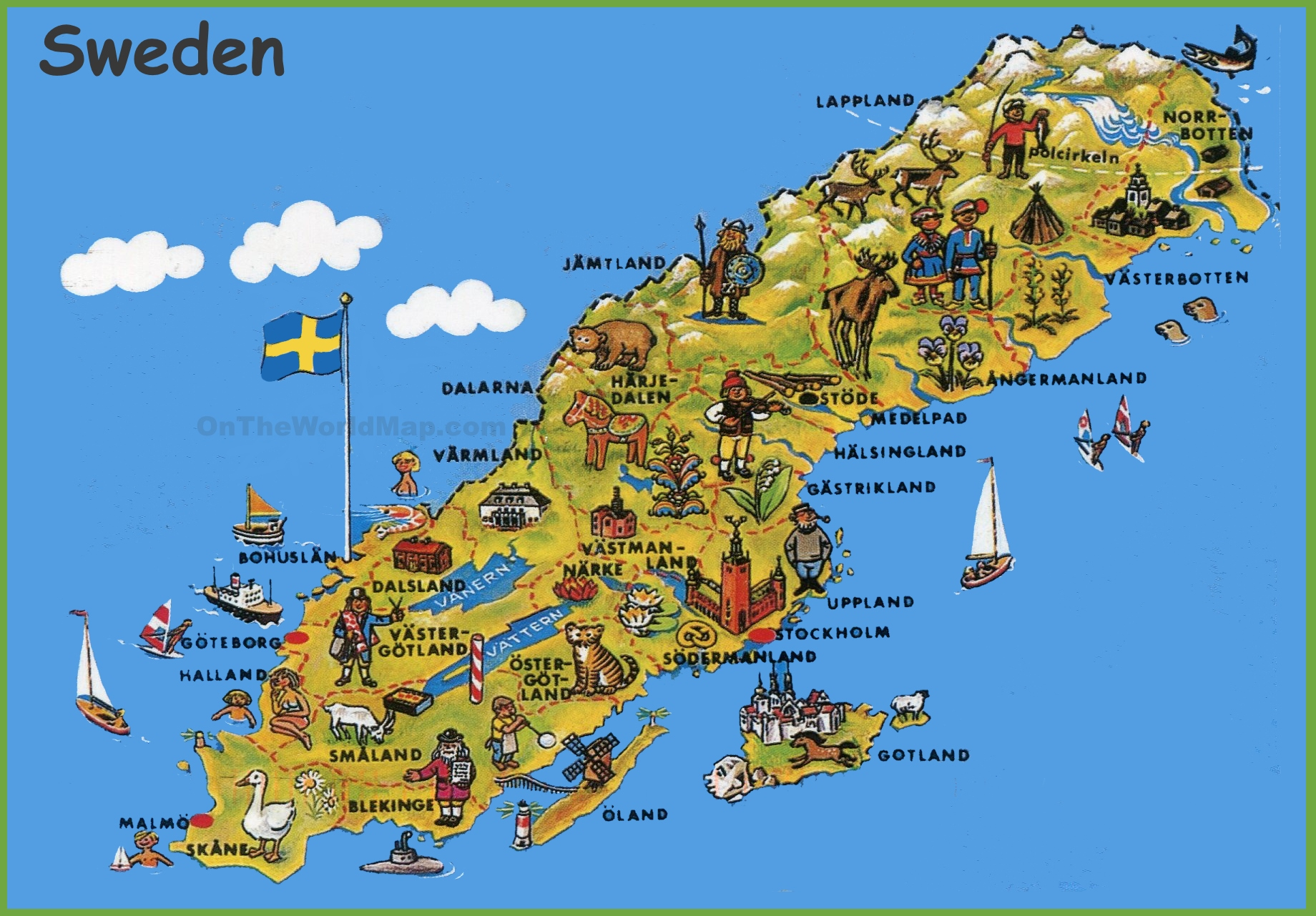 Sweden Tourist Map - Sweden map printable