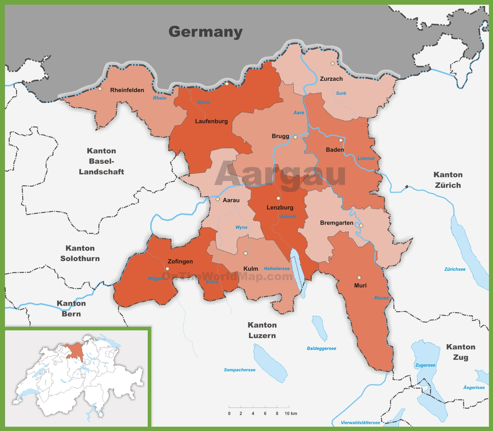 Canton of Aargau district map