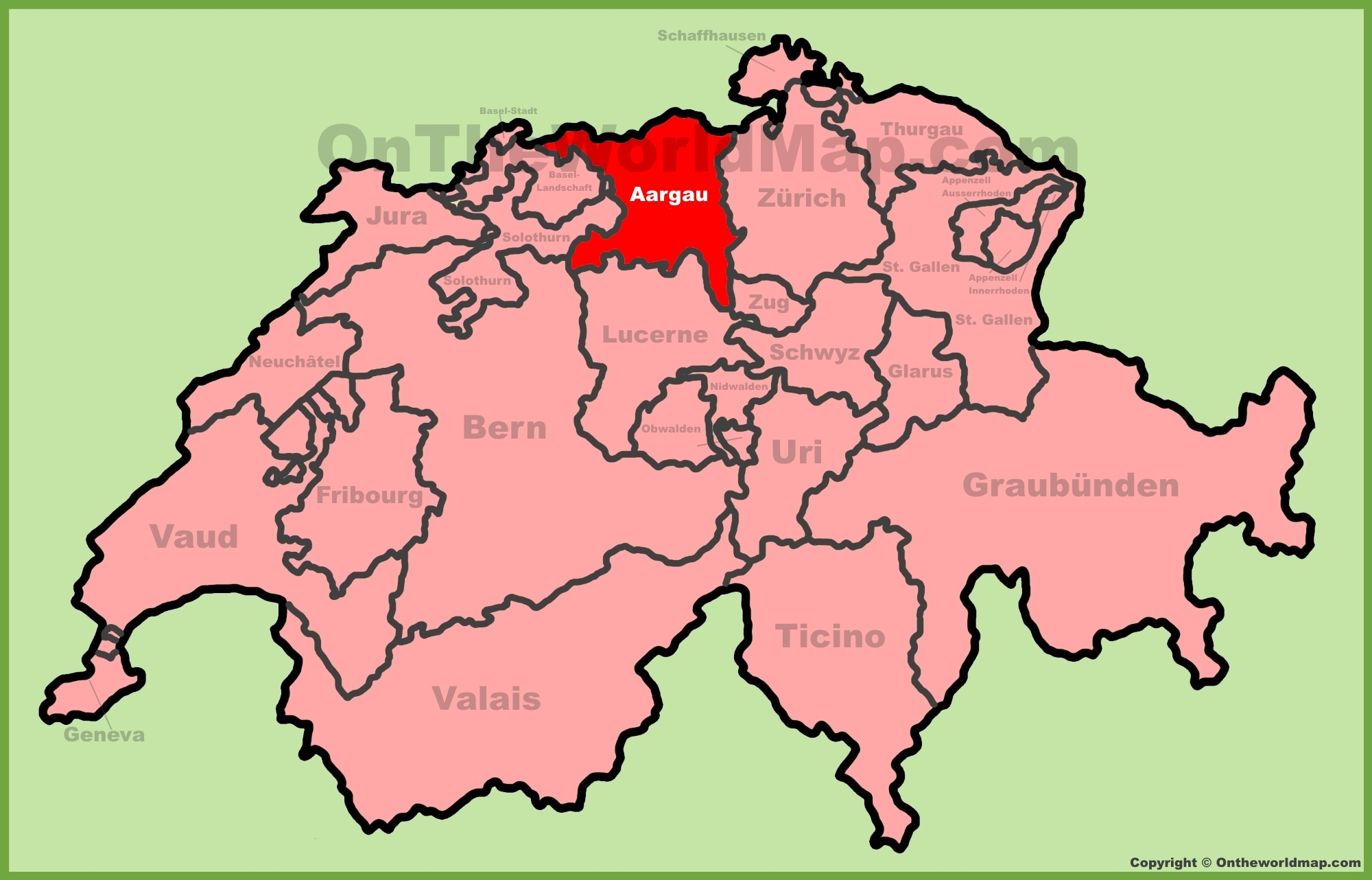 Canton of Aargau location on the Switzerland map