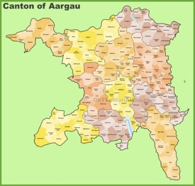 Canton of Aargau municipality map