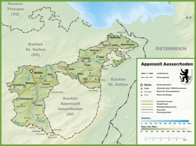 Canton of Appenzell Ausserrhoden map with cities and towns