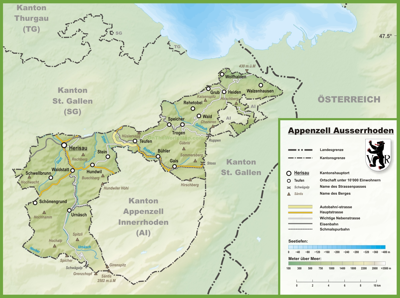 Canton of Appenzell Ausserrhoden Maps Switzerland Maps of Canton