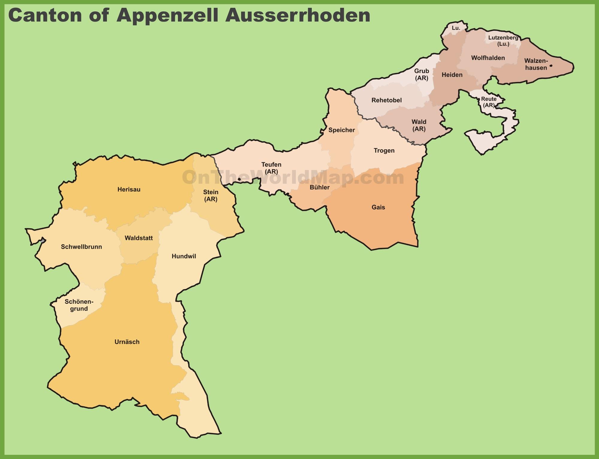 Canton of Appenzell Ausserrhoden municipality map