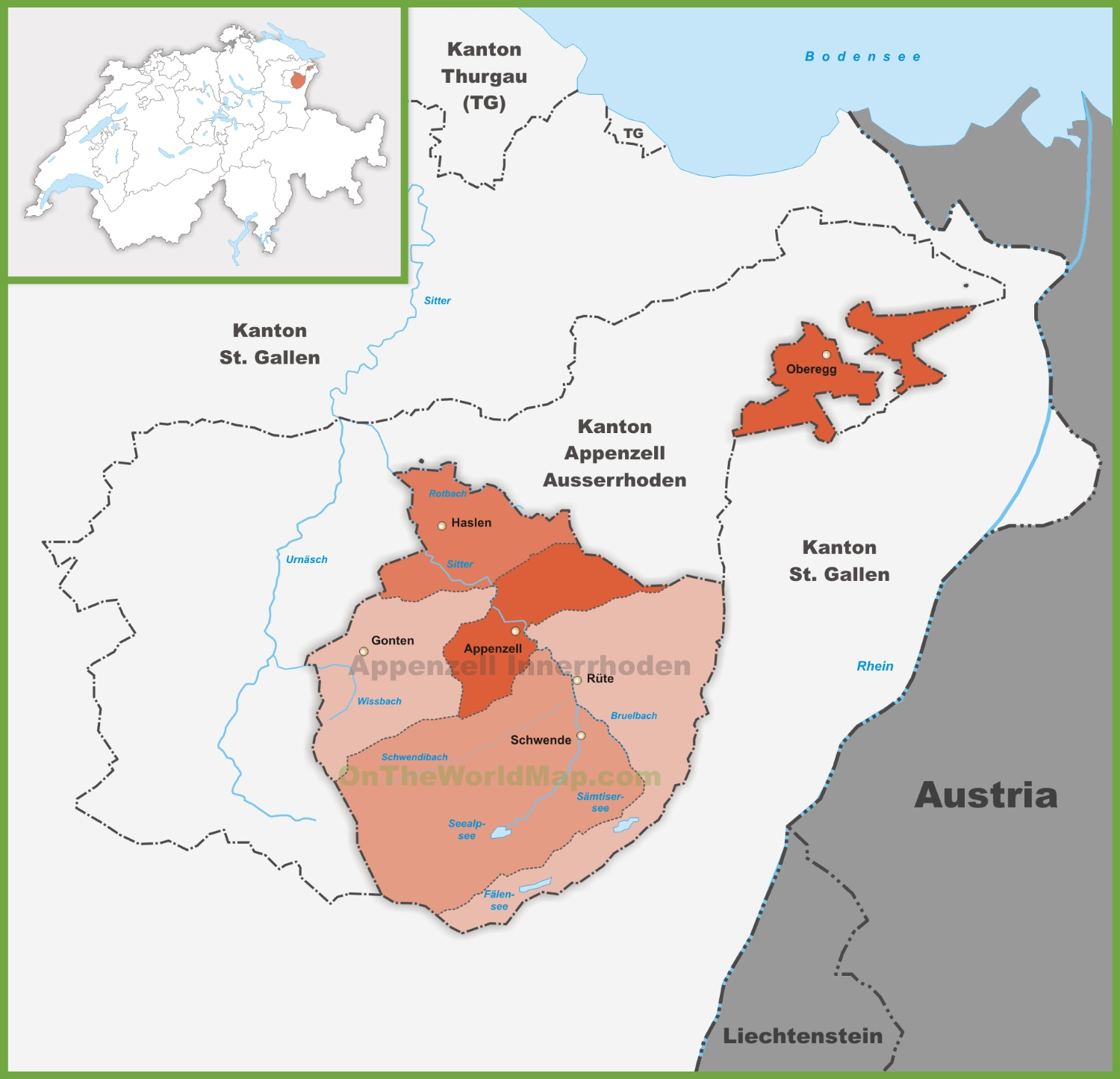 Canton of Appenzell Innerrhoden district map
