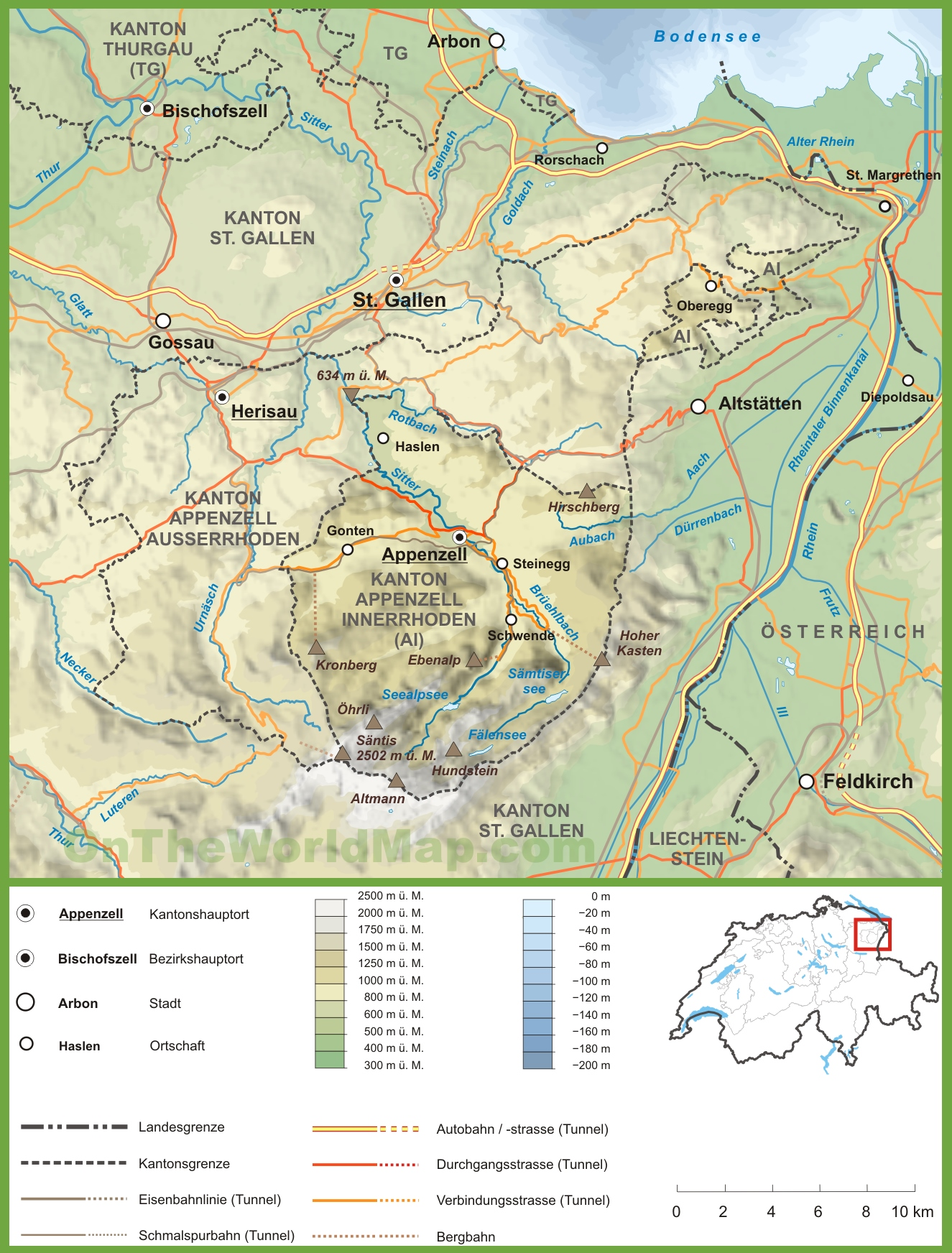 Canton of Appenzell Innerrhoden road map