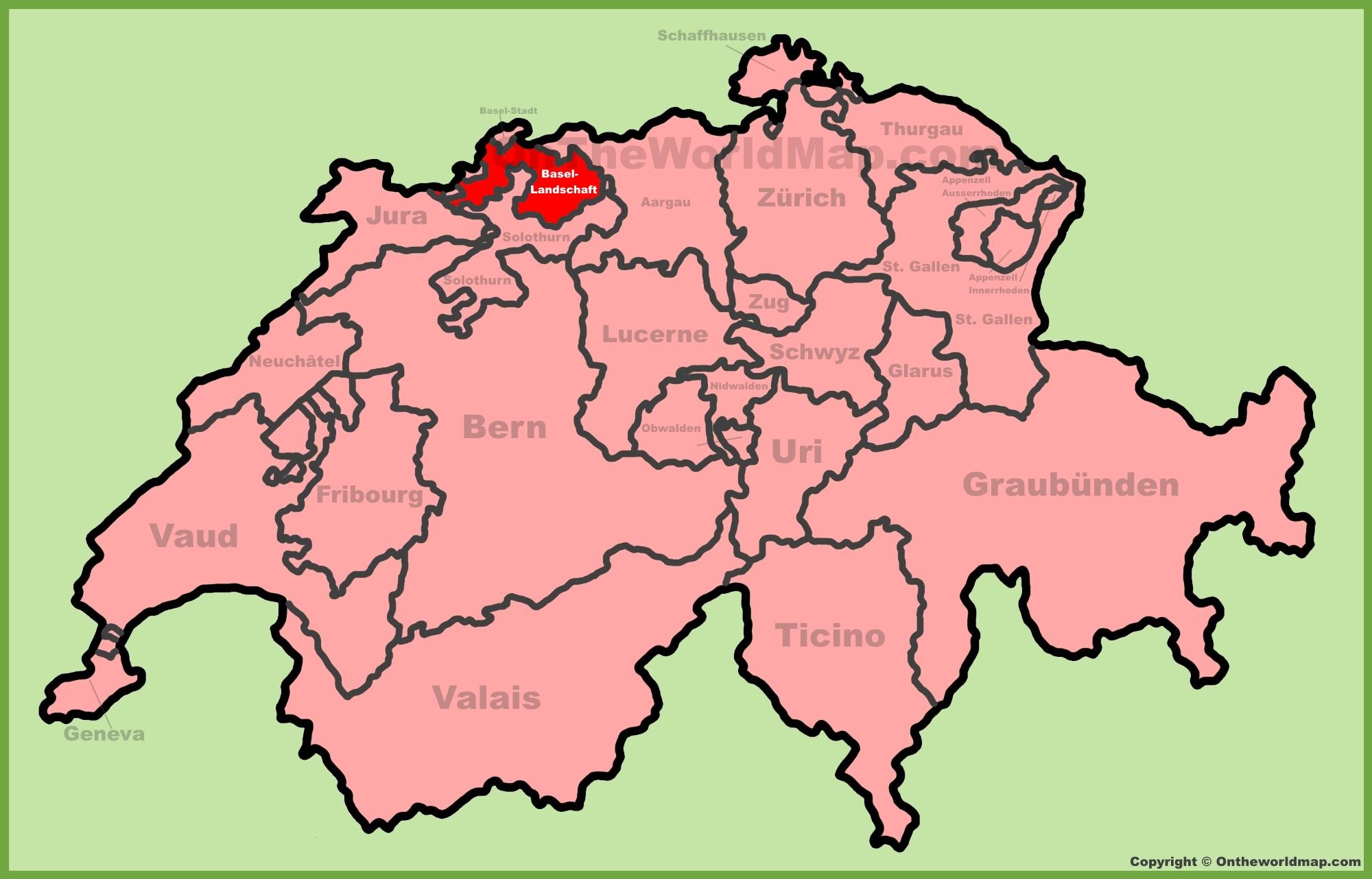Basel Switzerland Map Canton of Basel Landschaft Maps | Switzerland | Maps of Canton of