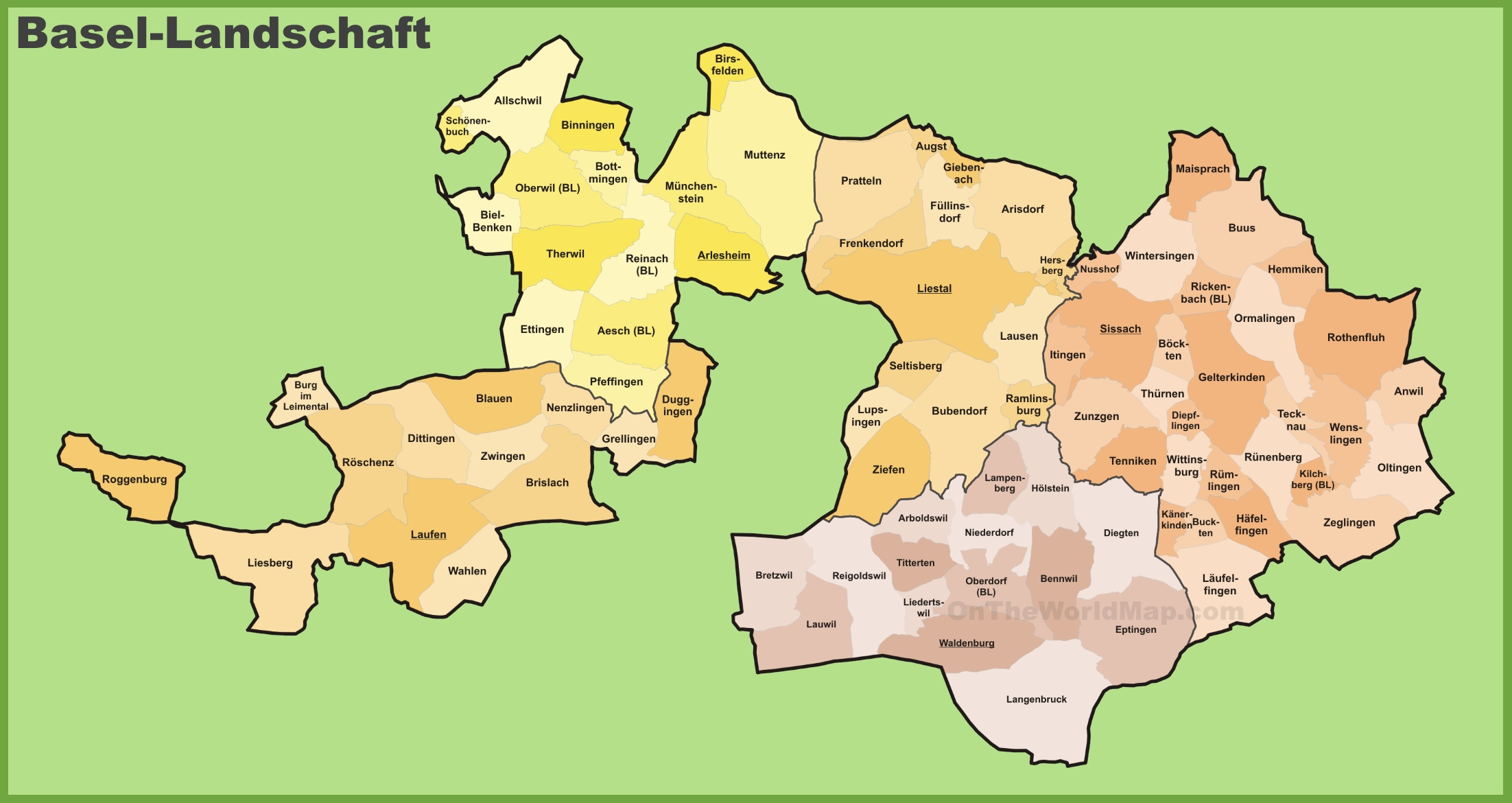 Canton of BaselLandschaft municipality map