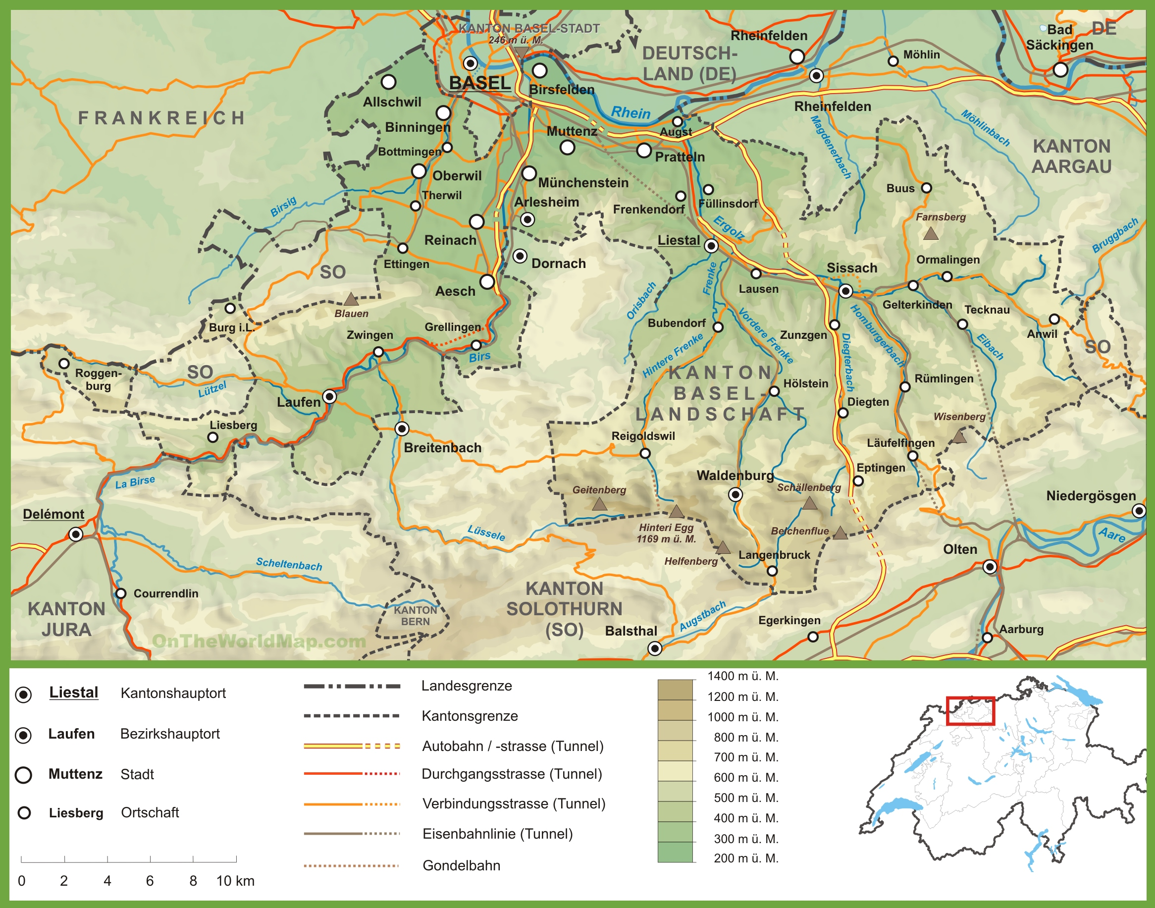 Canton of BaselLandschaft road map