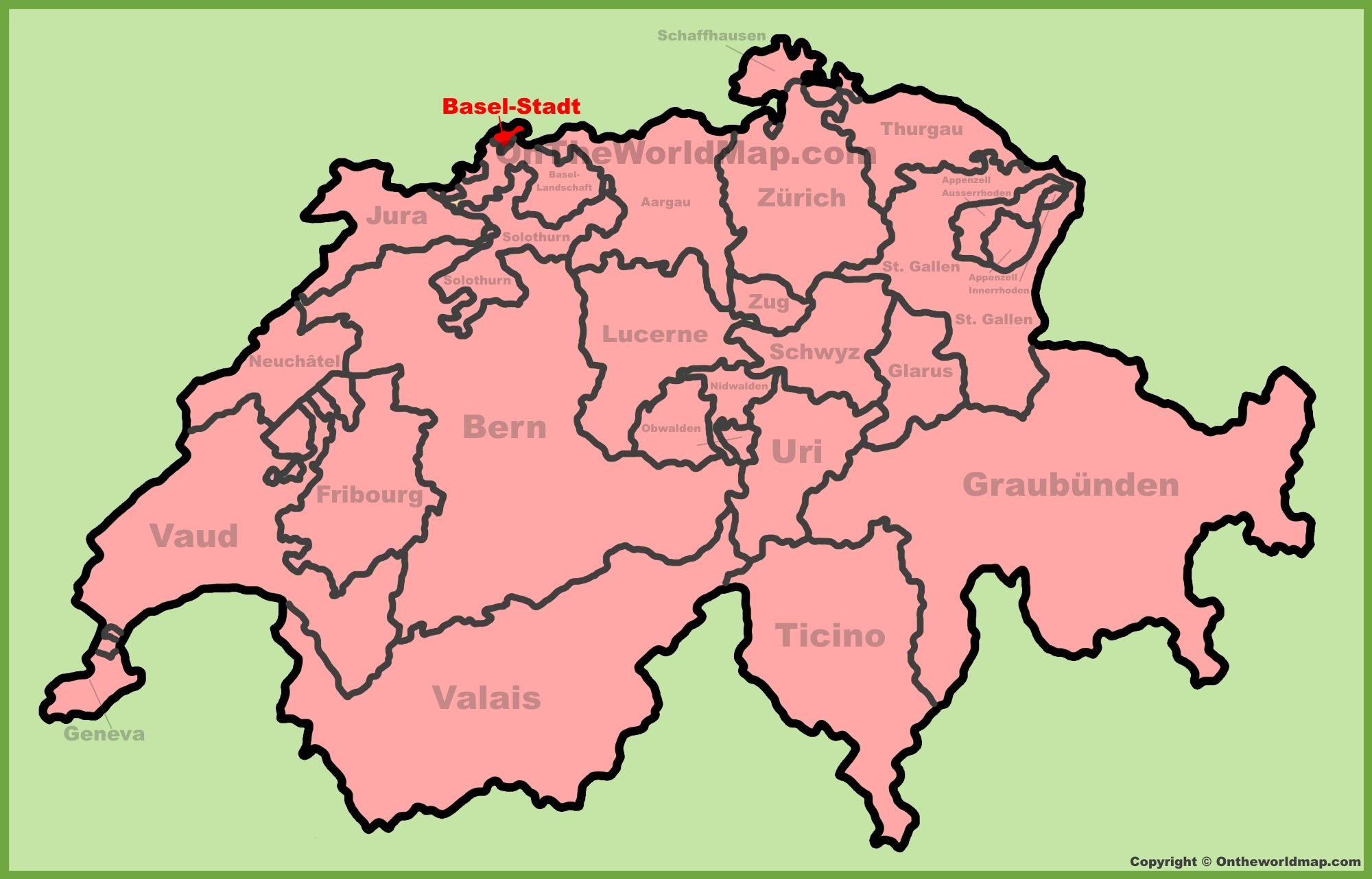 Basel Switzerland Map Canton of Basel Stadt location on the Switzerland map