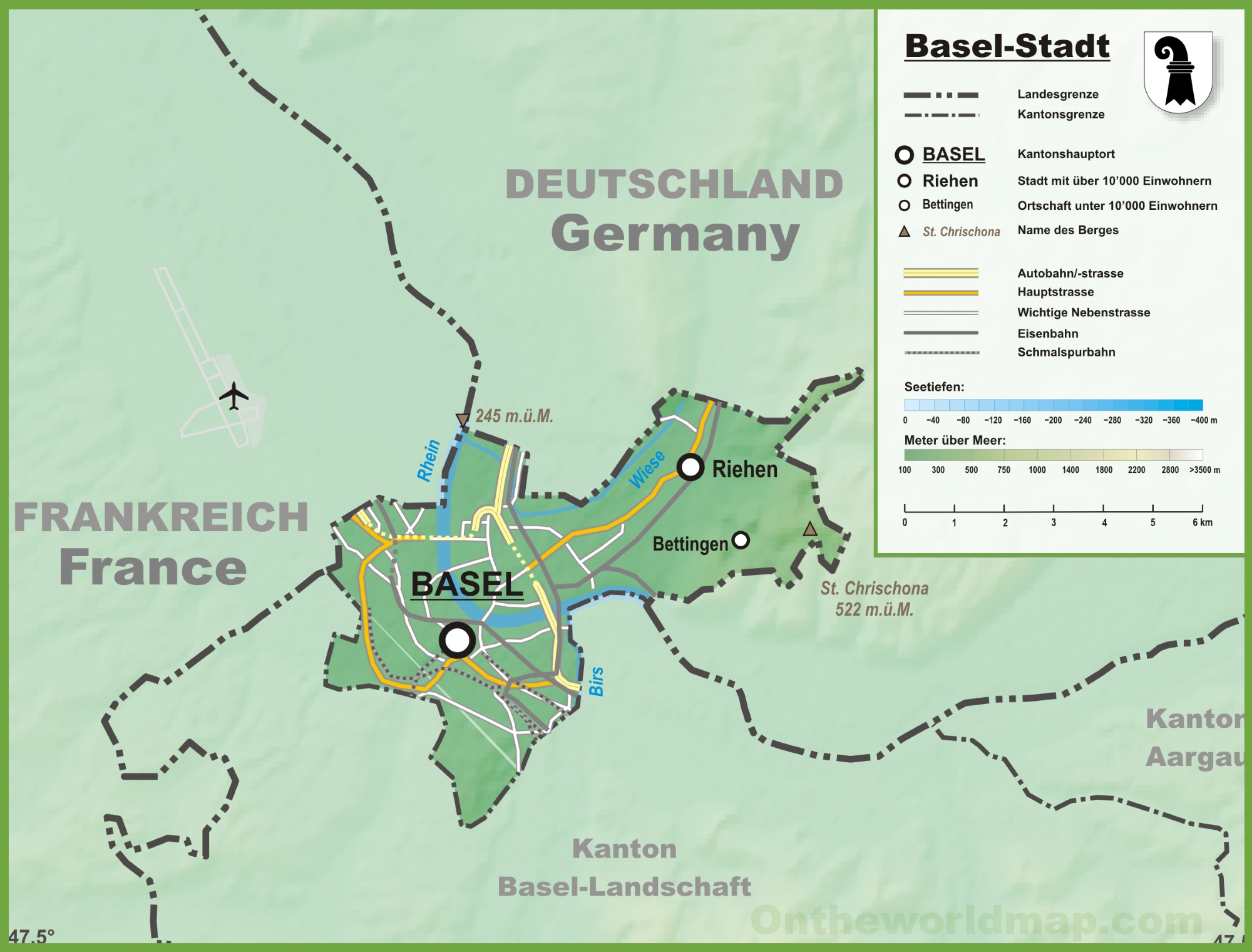 Canton of BaselStadt map with cities and towns