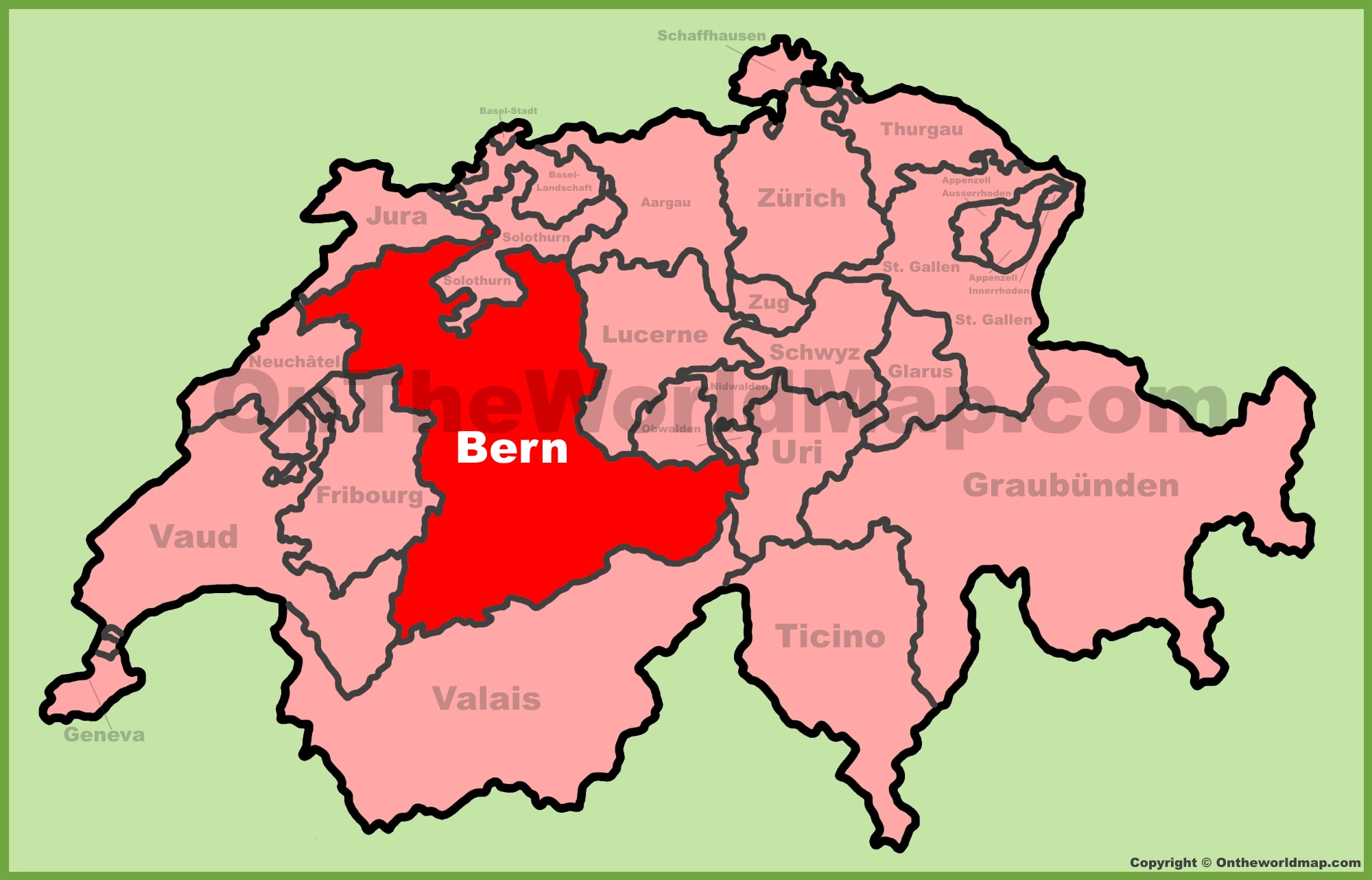 Canton of Bern location on the Switzerland map