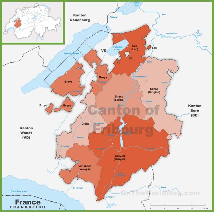 Canton of Fribourg district map