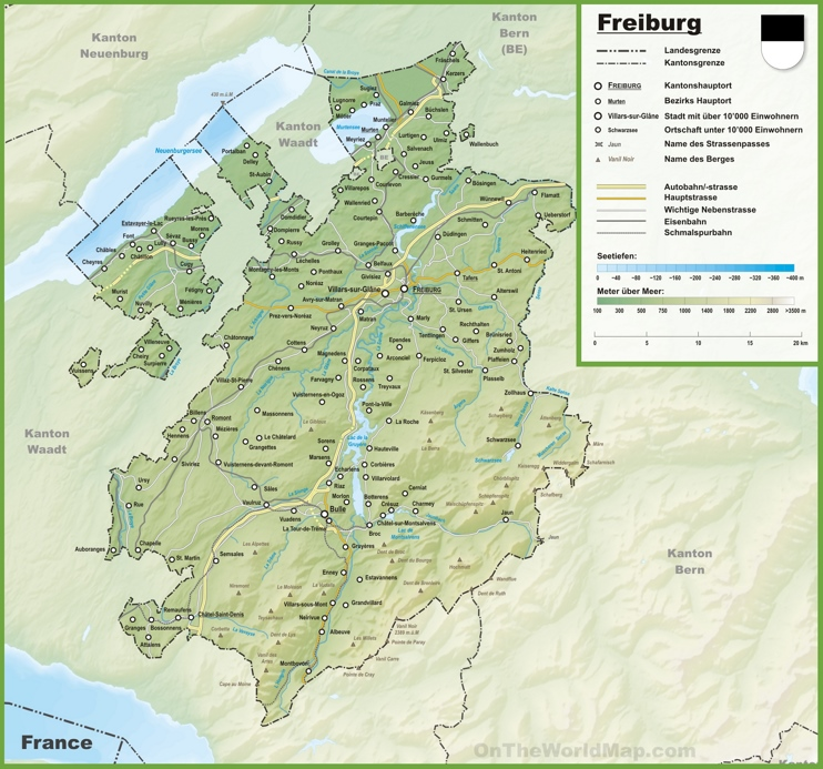 Canton of Fribourg map with cities and towns