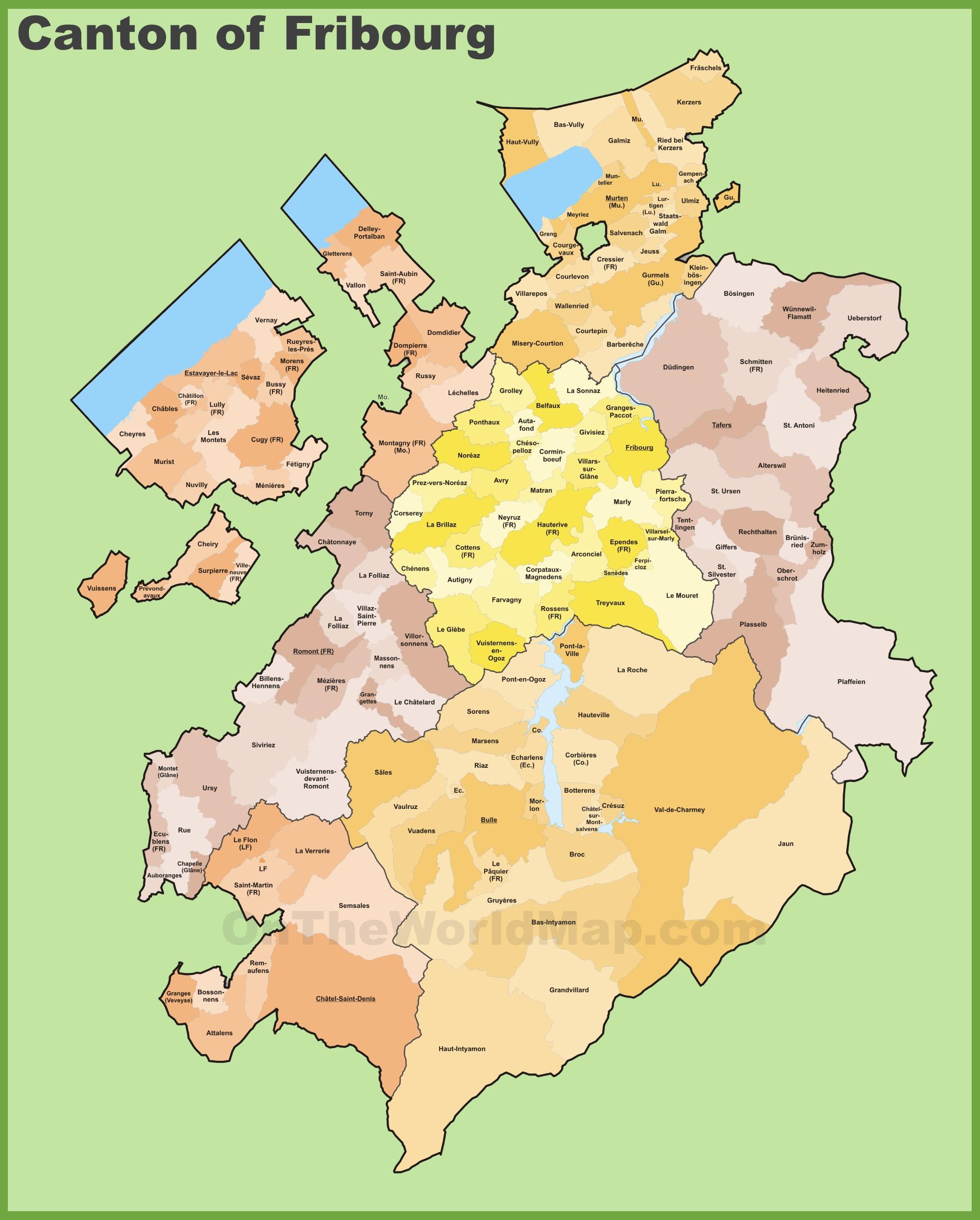 Canton of Fribourg municipality map