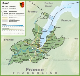 Canton of Geneva map with cities and towns