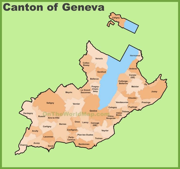 Canton of Geneva municipality map