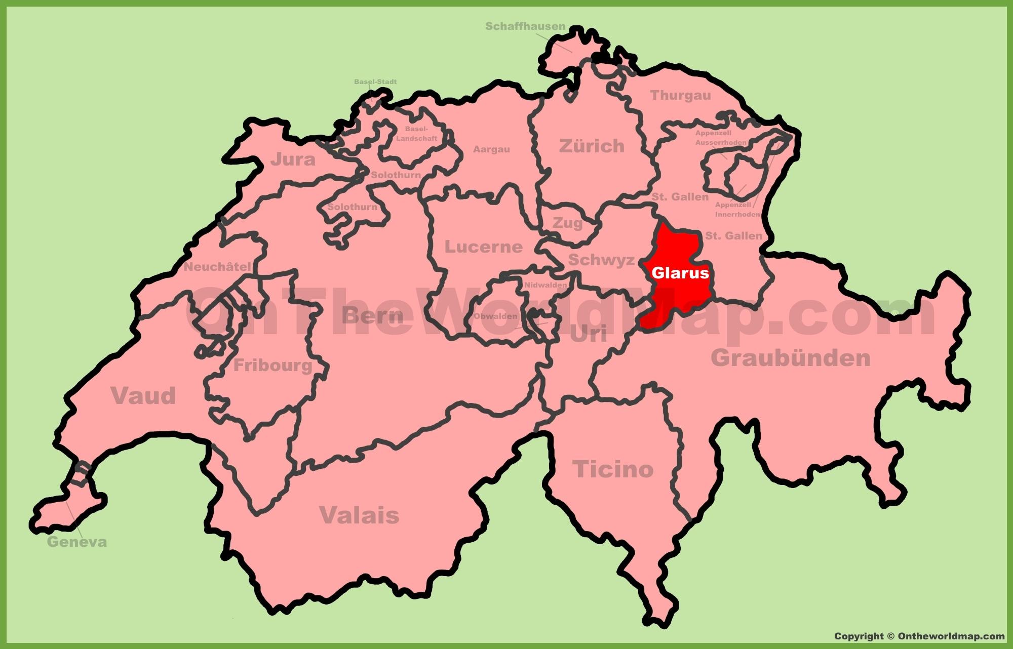 Canton of Glarus location on the Switzerland map