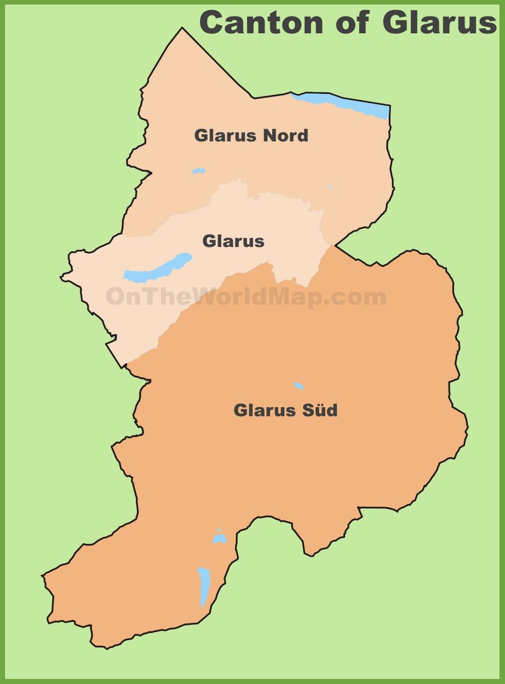 Canton of Glarus municipality map