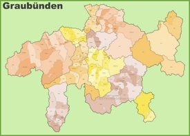 Canton of Graubünden municipality map