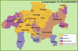 Map of languages in Graubünden