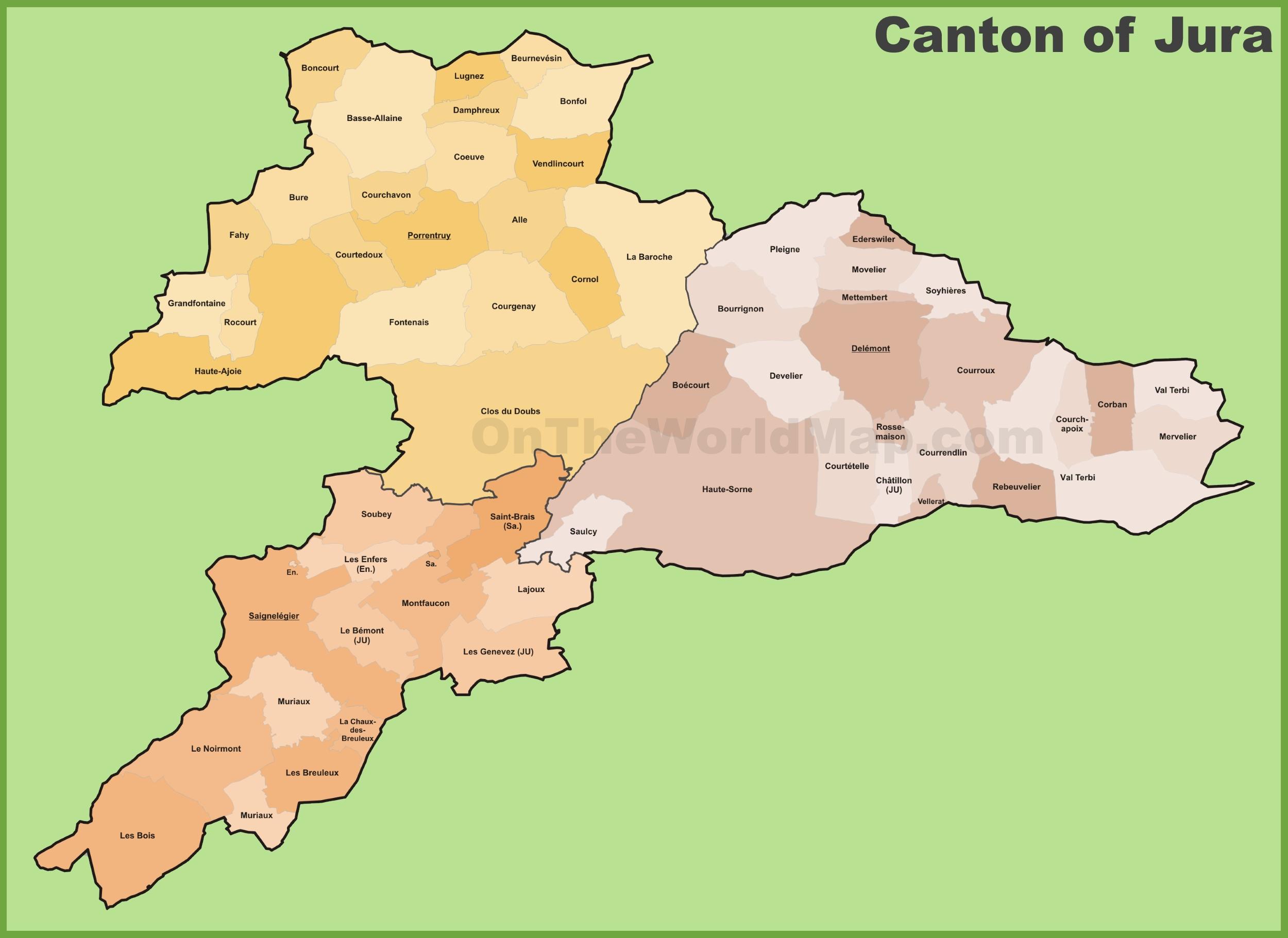 Canton of Jura municipality map