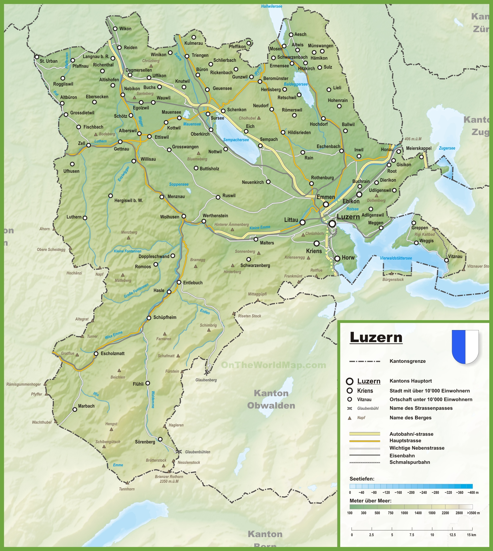 Canton of Lucerne map with cities and towns
