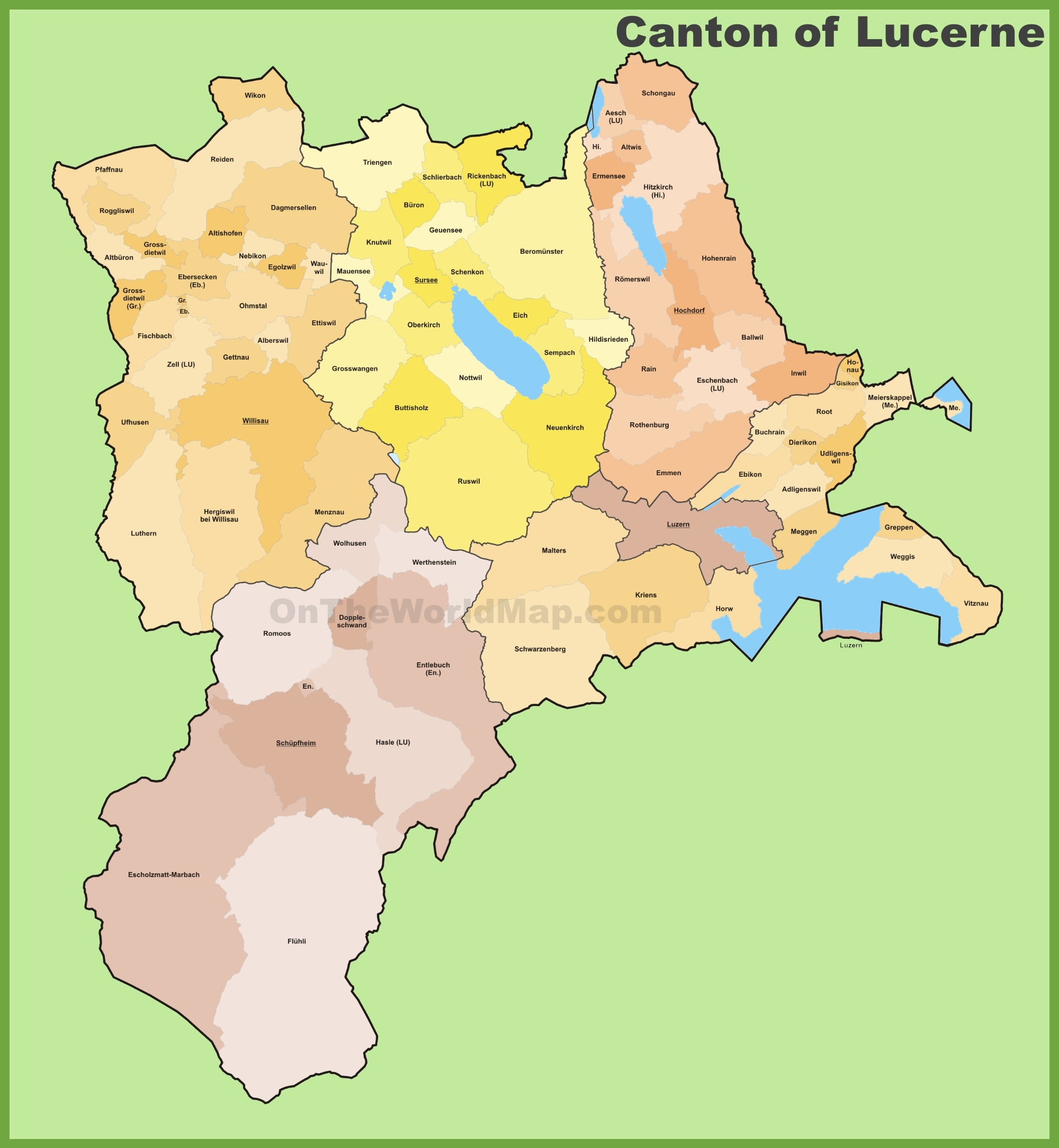 Canton of Lucerne municipality map