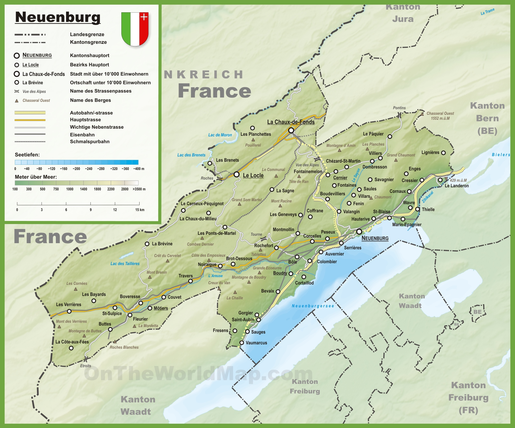 Canton of Neuchtel Maps Switzerland Maps of Canton of Neuchtel