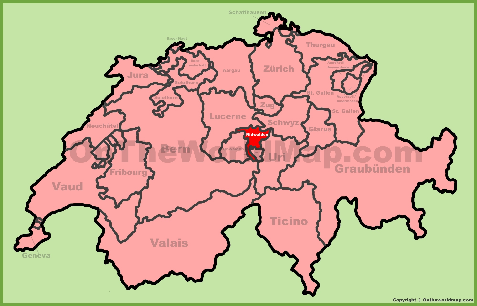 Canton of Nidwalden location on the Switzerland map