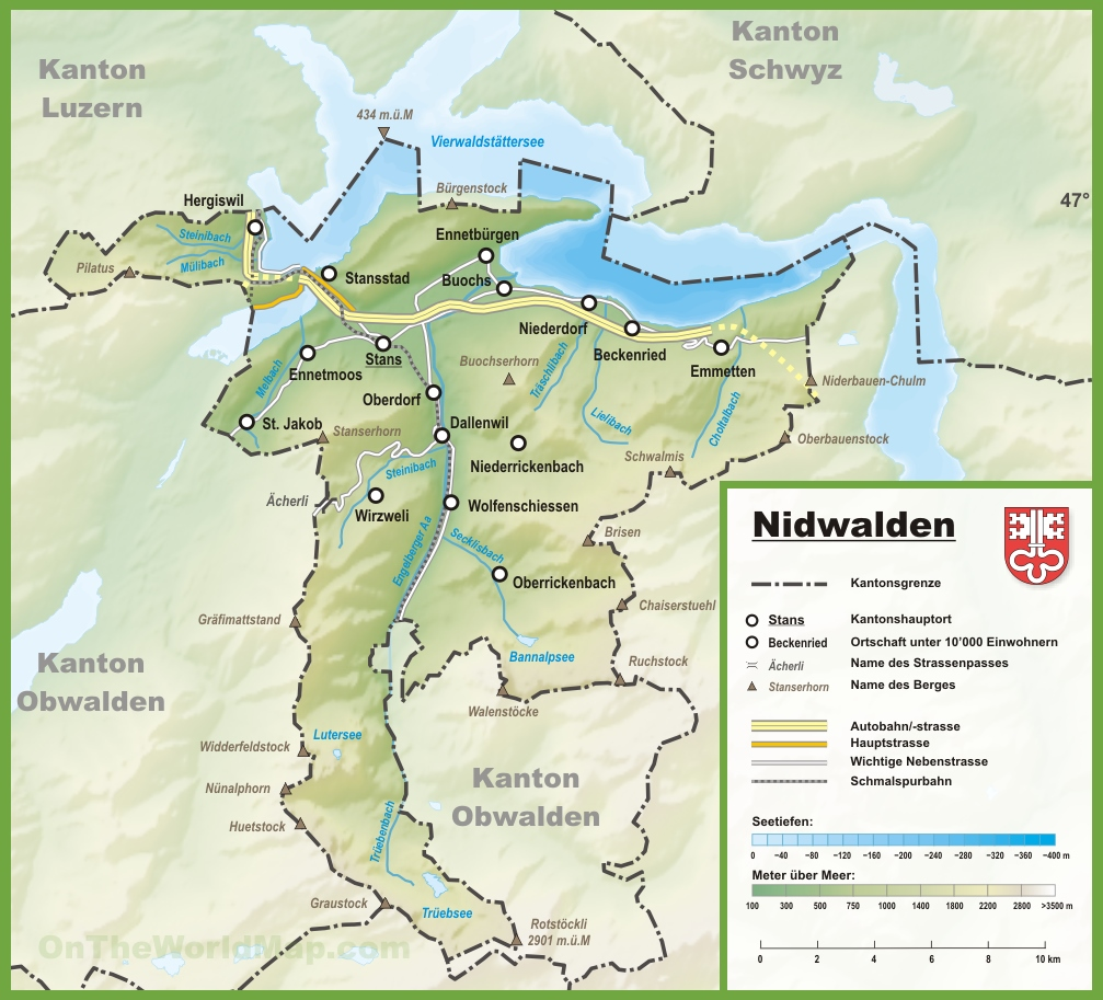 Canton of Nidwalden map with cities and towns