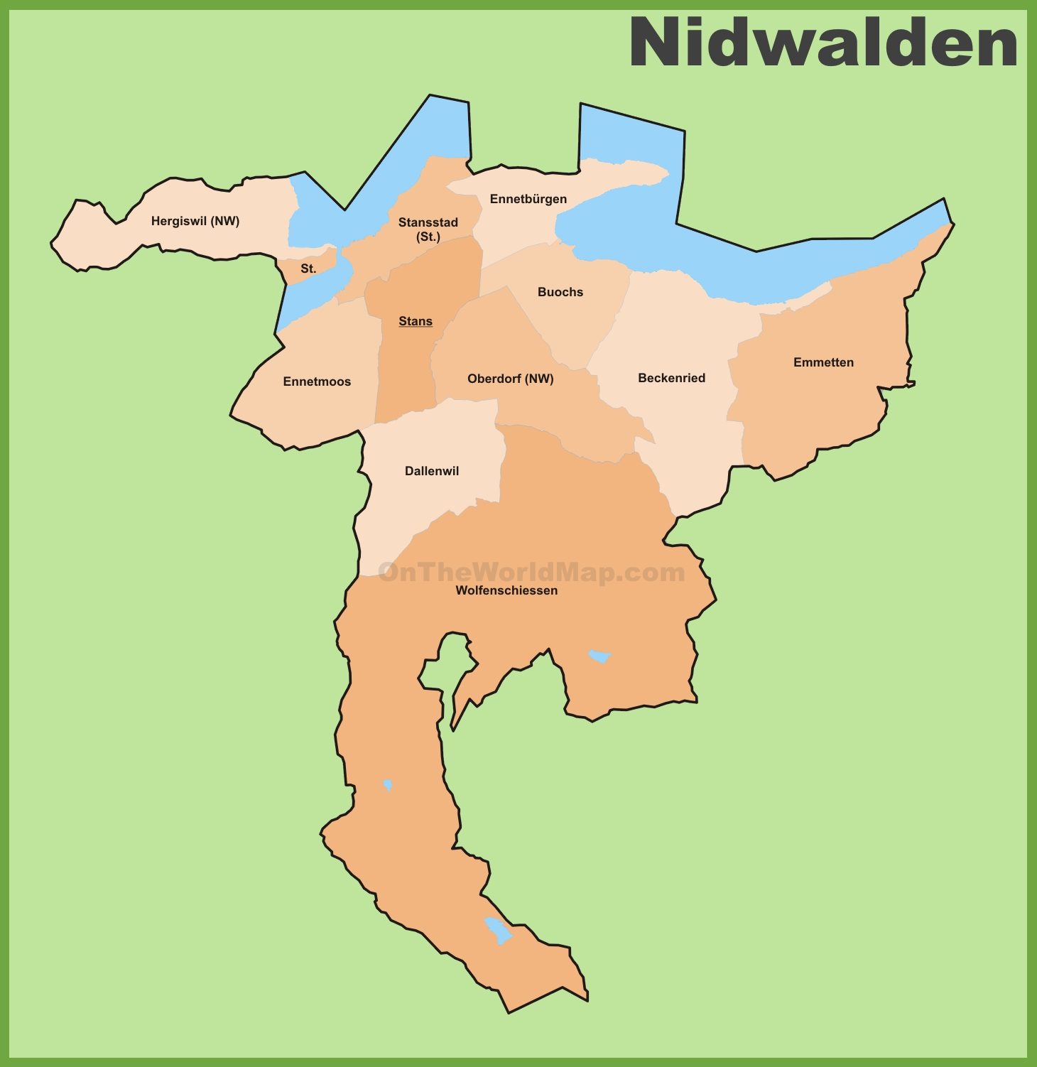 Canton of Nidwalden municipality map