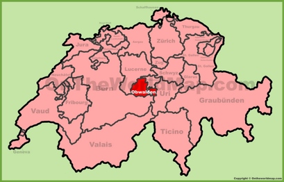 Canton of Obwalden Location Map