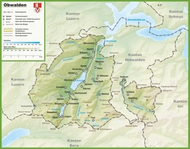 Canton of Obwalden map with cities and towns