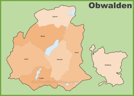 Canton of Obwalden municipality map