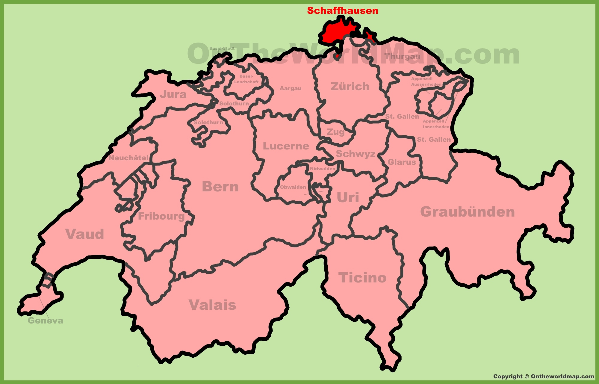 Canton of Schaffhausen location on the Switzerland map