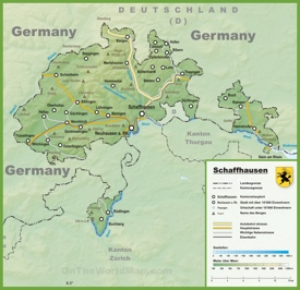 Canton of Schaffhausen map with cities and towns