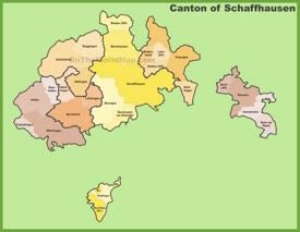Canton of Schaffhausen Maps Switzerland Maps of Canton of