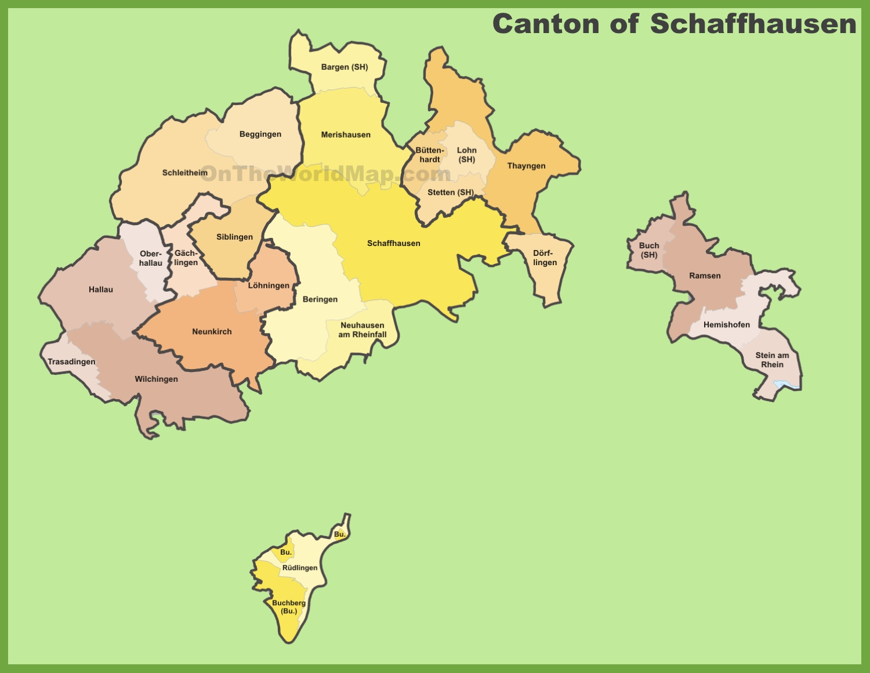 Canton of Schaffhausen municipality map