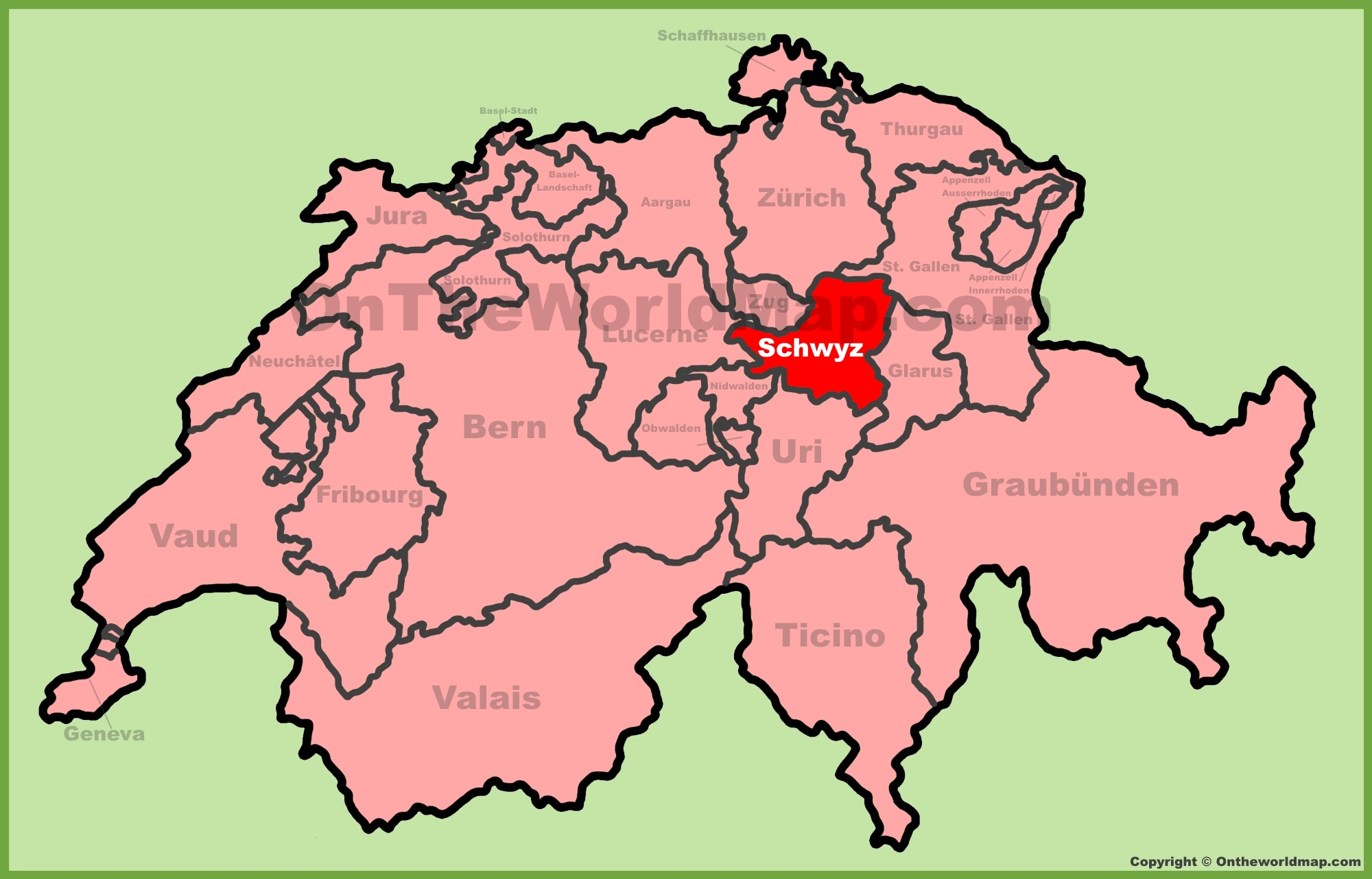 Canton of Schwyz location on the Switzerland map
