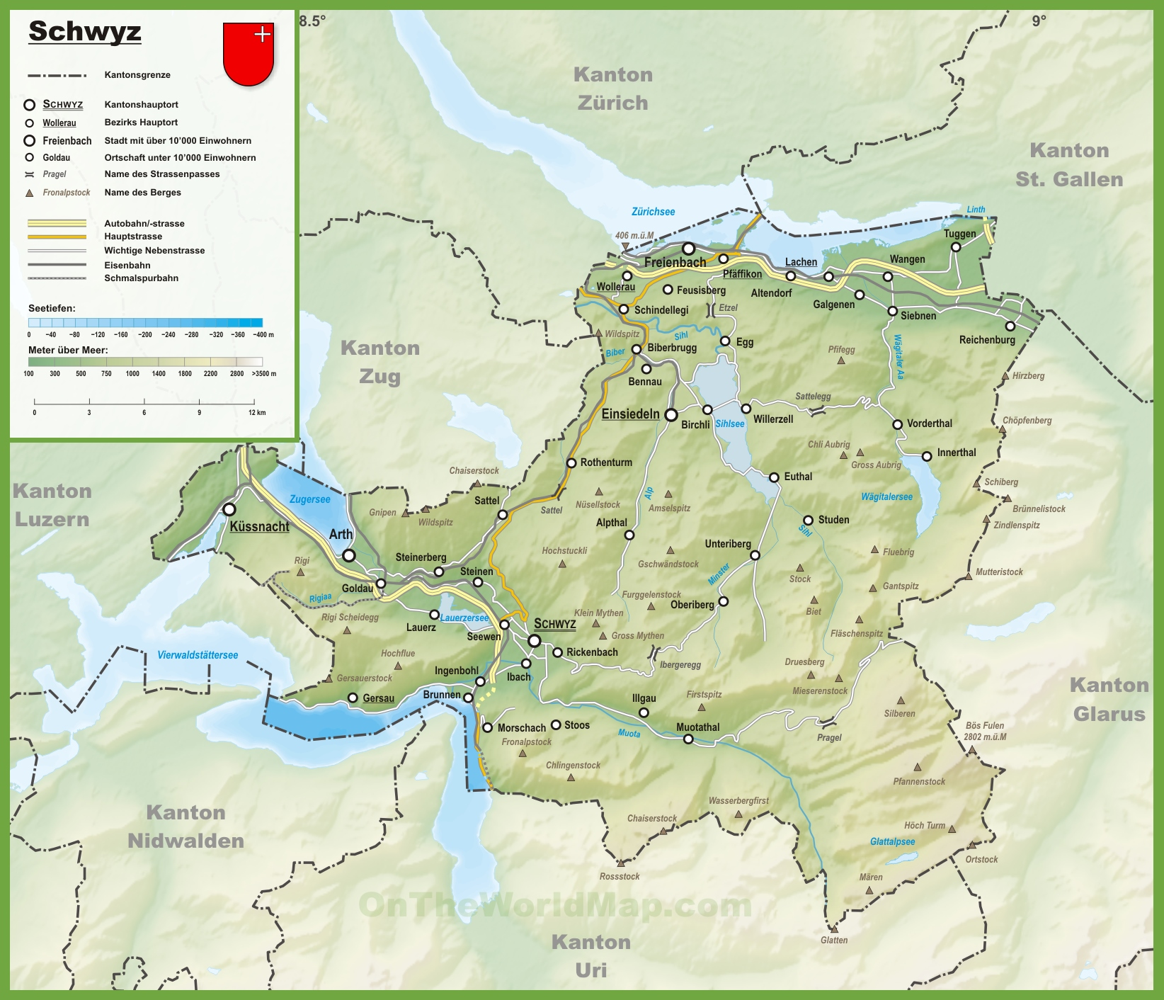 Canton of Schwyz map with cities and towns