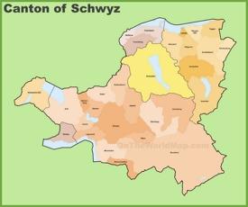 Canton of Schwyz municipality map