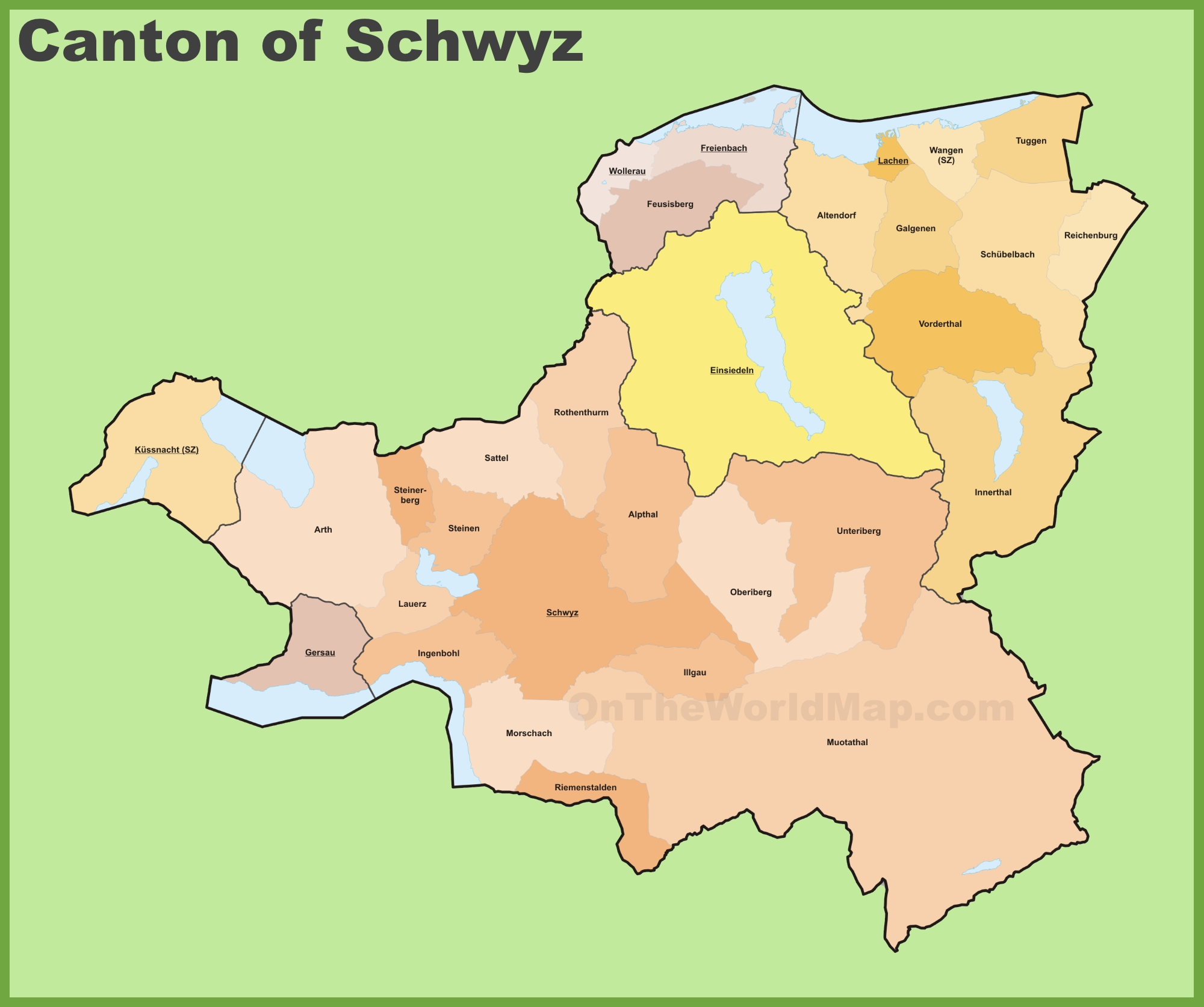 Canton of Schwyz municipality map